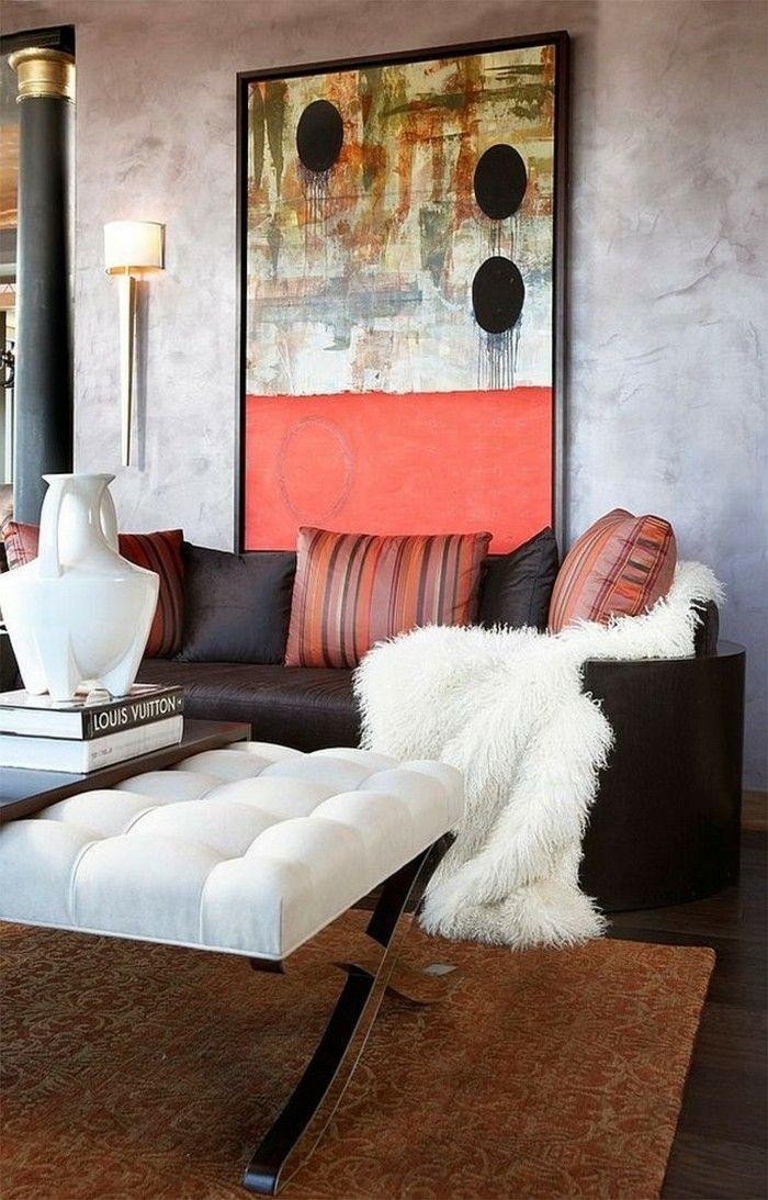 Schon Wanddesign Wohnzimmer Einrichten Weiße Akzente Brauner Teppich