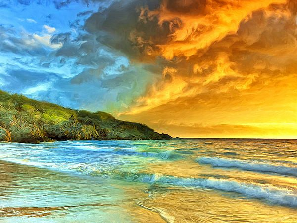 Sunset At Hapuna Beach By Dominic Piperata For The Home