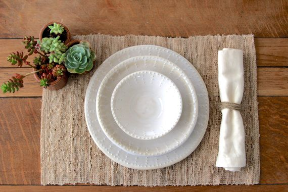 Stoneware Dinnerware - Creamy White - Dinner Plate Salad Plate Soup Bowl - One Place Setting - French Country Dinnerware - Made to Order & Stoneware Dinnerware - Creamy White - Dinner Plate Salad Plate ...