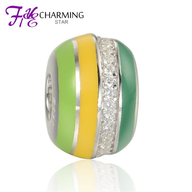 5pcs/lot silver enamel beads with clear stone sterling silver european charm fits bracelets wholesale amld027