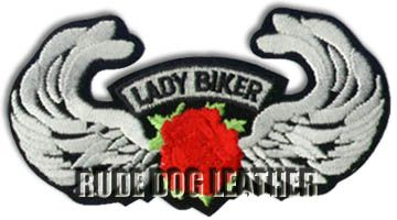Lady Biker Red Embroidered Patch
