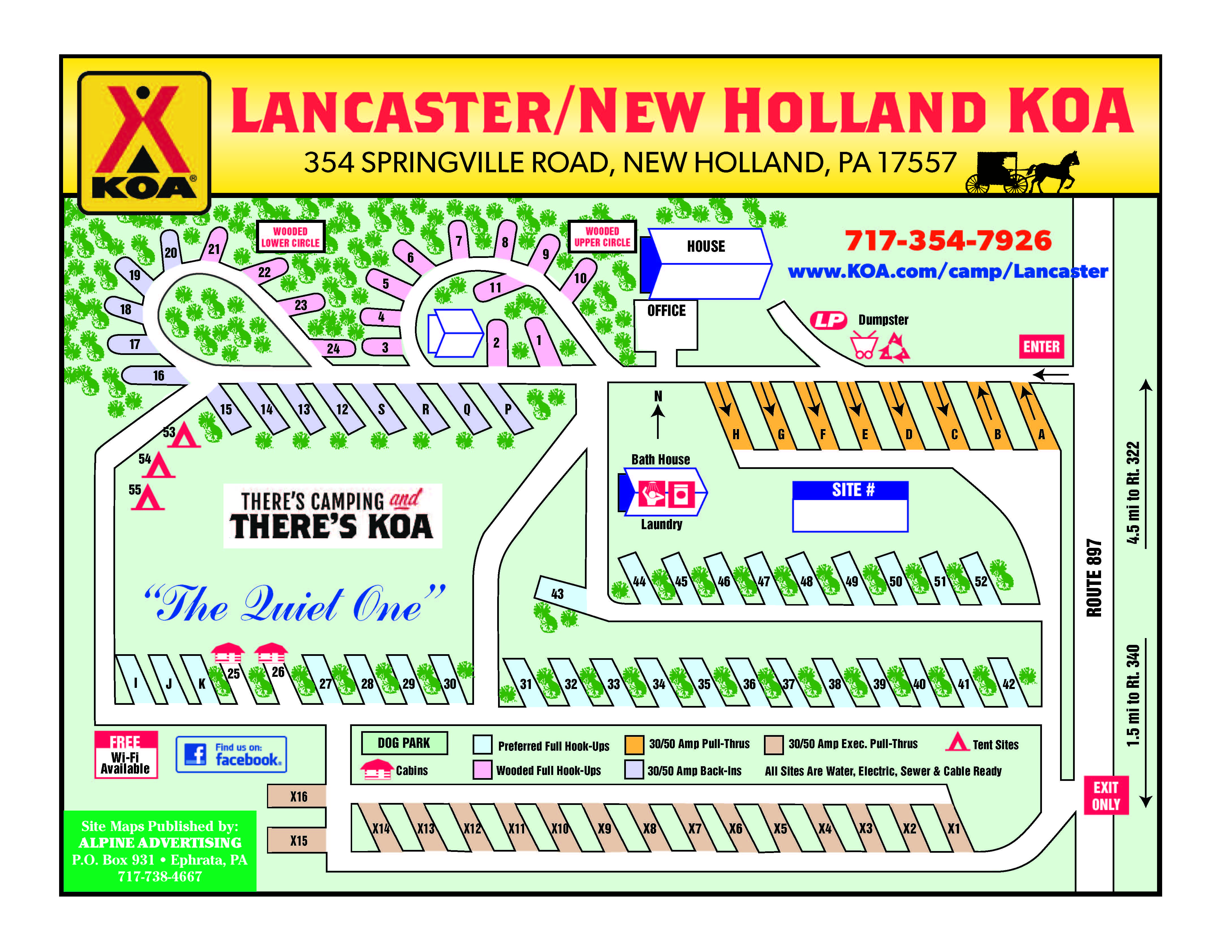 Campground Site Map New Holland Koa Campgrounds Campground