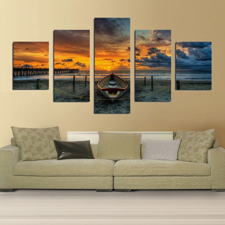 Print Art Canvas Painting 5 Piece Large HD Seaview boat for Living ...