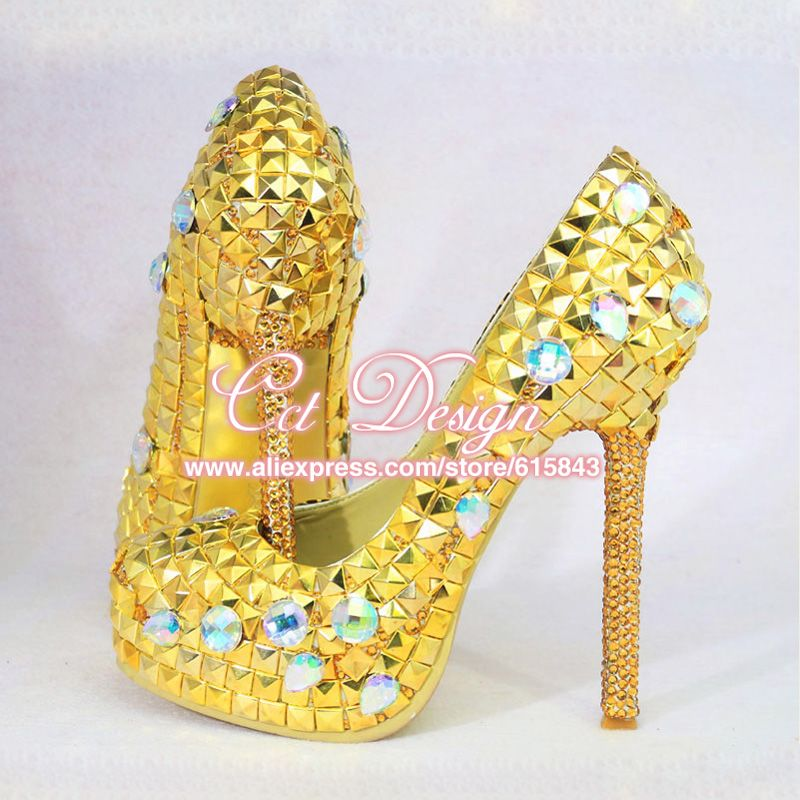 ea615dfa4e99 Sexy Ladies Platform Gold Glitter Stiletto High Heels Yellow Gold Rhinestone  Wedding Shoes Party Bridal Shoes Women Pumps-in Women s Pumps from Shoes on  ...