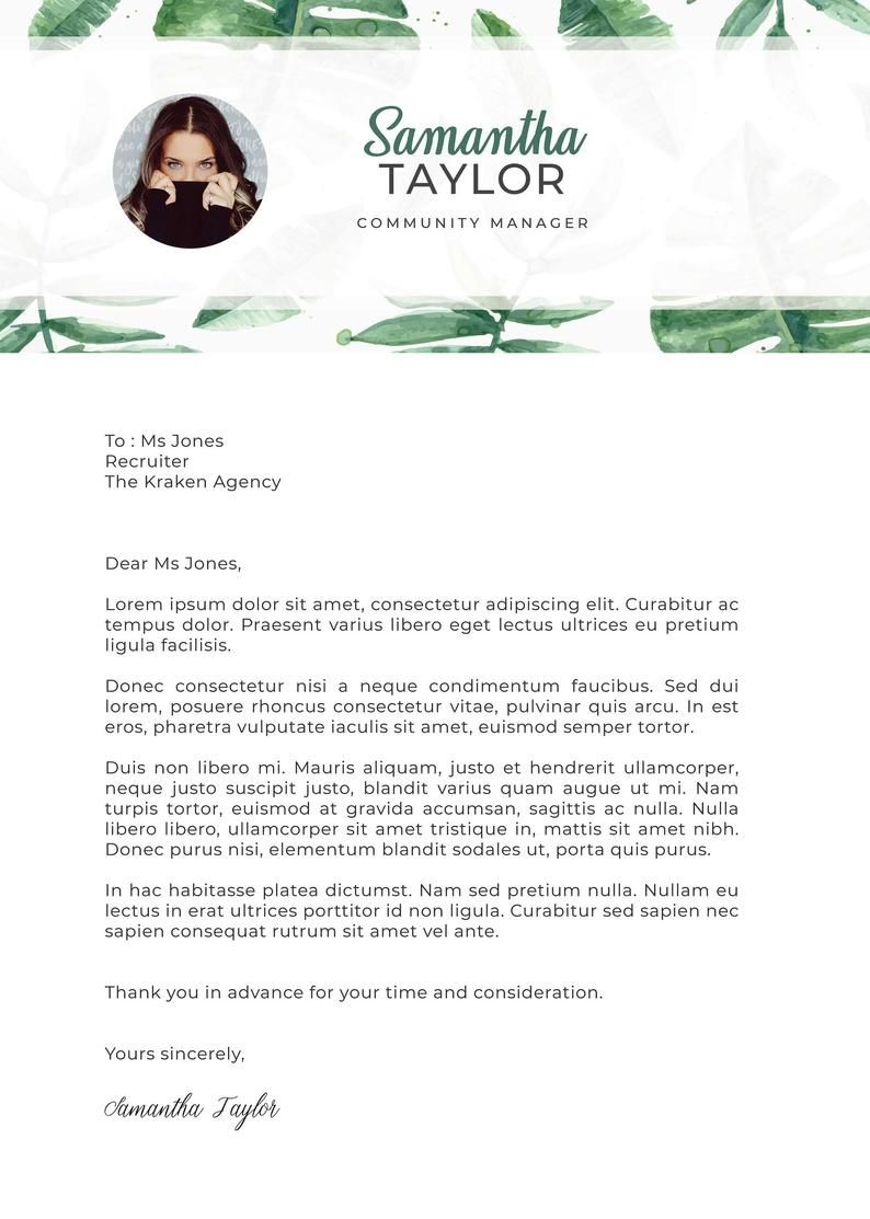 Tropical Leaves Curriculum Vitae Template Resume Cv Cover Letter Creative Design For Photoshop Graphic Design Resume Creative Graphic Design Resumes Graphic Design Cv