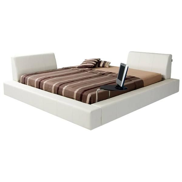 Atlantic White King Platform Bed w/Tray Stand | For the Home | Pinterest