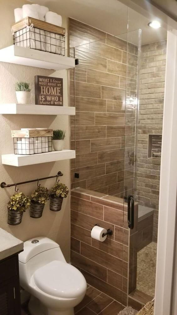 Photo of floating shelves / storage ideas for small bathroom decorating #bathroom #bathro…