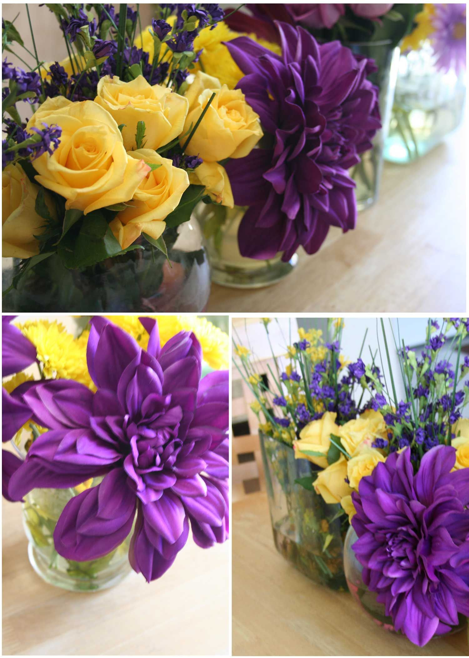 Purple yellow dinner party 30th birthday yellow centerpieces flower arrangements dhlflorist Image collections
