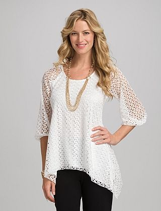 Misses   Tops   Shirts & Blouses   Roz & ALI Crochet Lace Overlay Top