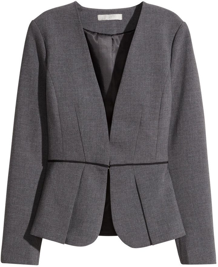 H&M - Peplum Jacket - Dark gray melange - Ladies