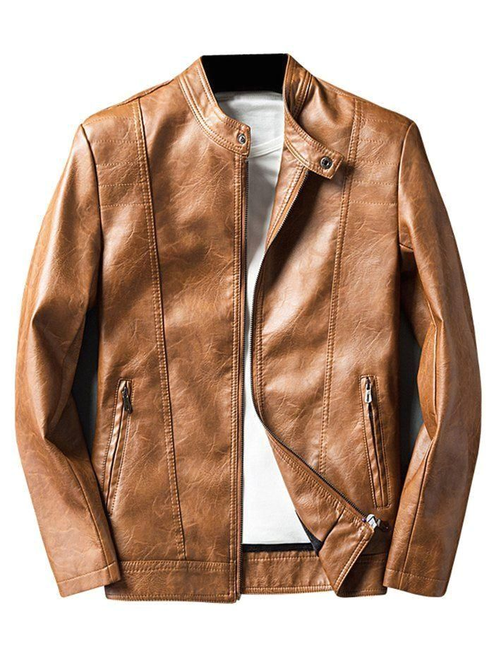 Simple Thin Velvet PU Leather Jacket in 2020 Pu