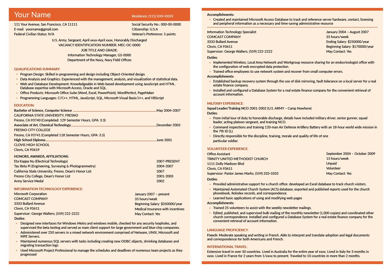 federal resume writing service cost