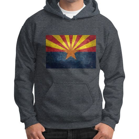 Arizona State flag, Vintage retro version Gildan Hoodie (on man)