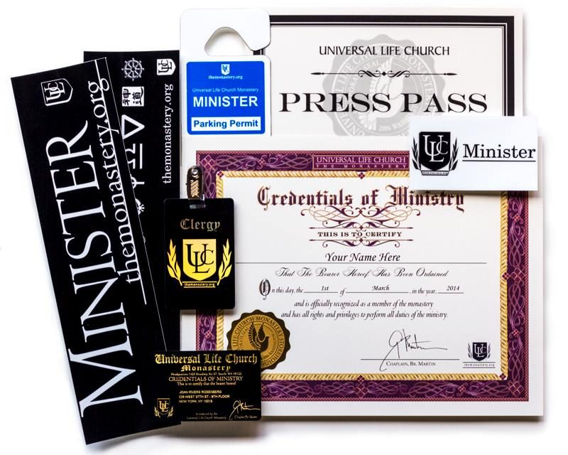 This Basic Package Contains A Few Of The Key Items You May Need As A Newly Ordained Minister Of The Universal Lif Universal Life Church Marriage Law Ordination