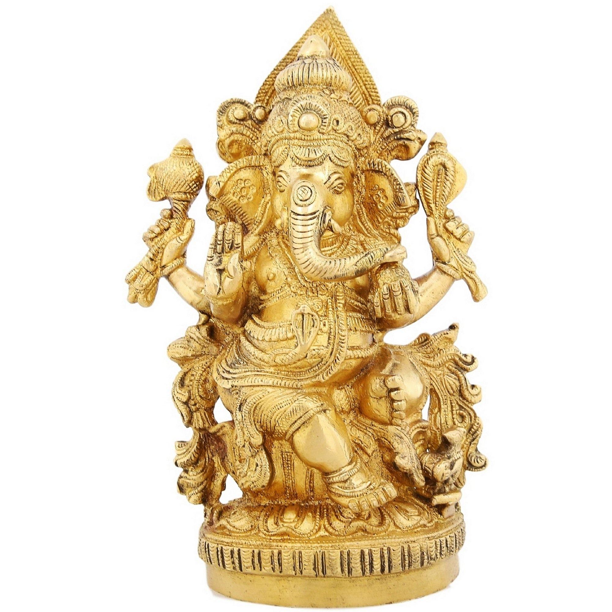 ShalinIndia Brass Figurines Of Lord Ganesha Sitting For Puja. Ganesh ...