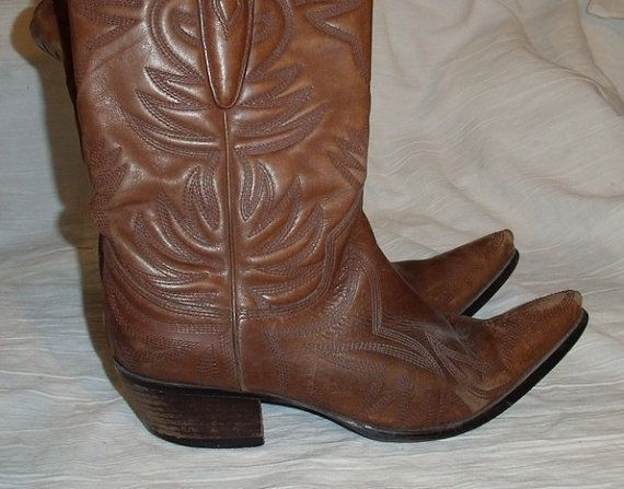 32c32d11d25 Vintage Distressed Brown Leather Pointy Toe Cowboy Boots By Guess ...