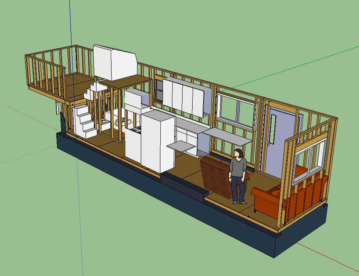 tiny house layout has master bedroom over fifth-wheel hitch, with