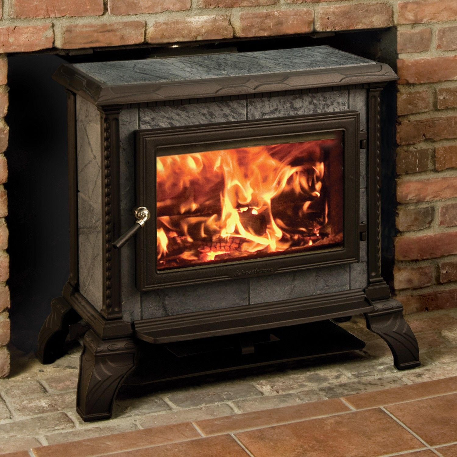 Homestead Freestanding wood stove in Matte Black, by Hearthstone. Heats up  to 1800 sq - Wood Burning See-Through Freestanding Stove. Features: *See
