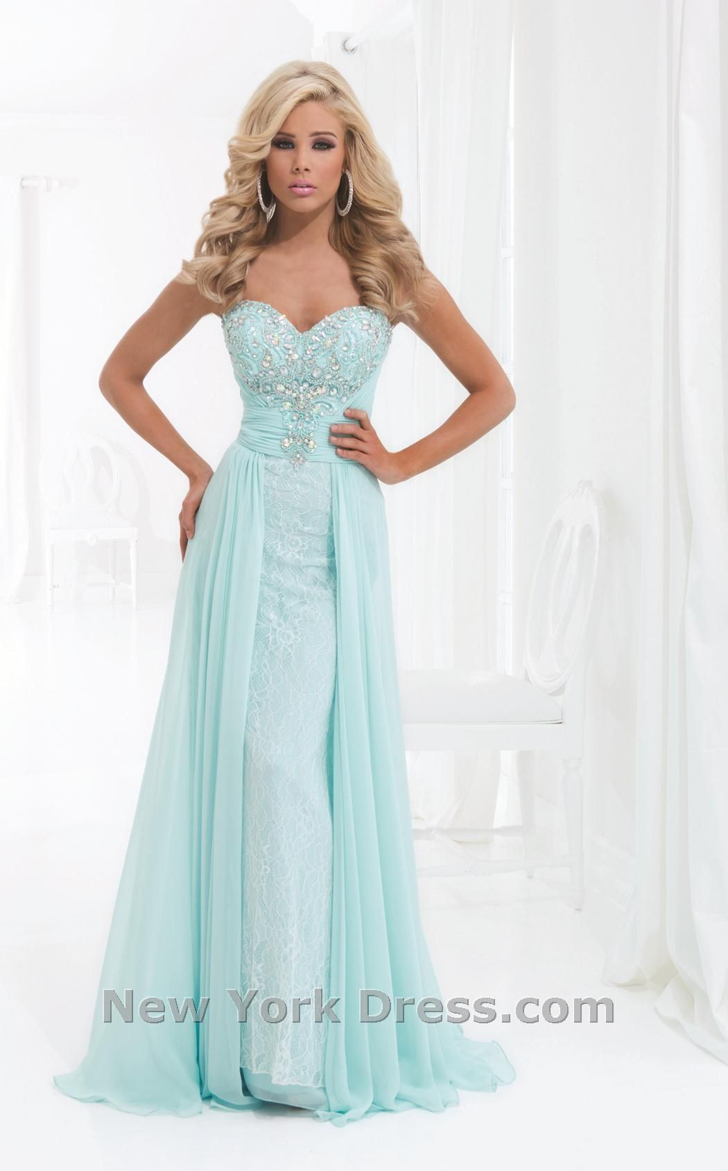 Lace Gown with Over Skirt Tony Bowls Le Gala (This dress is pinned ...