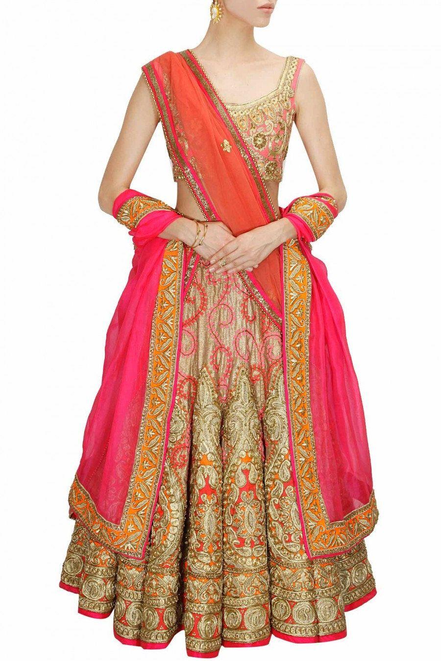 Pink dress to wear to a wedding  Golden and Pink Bridal Wedding Lehenga by PanacheHauteCouture