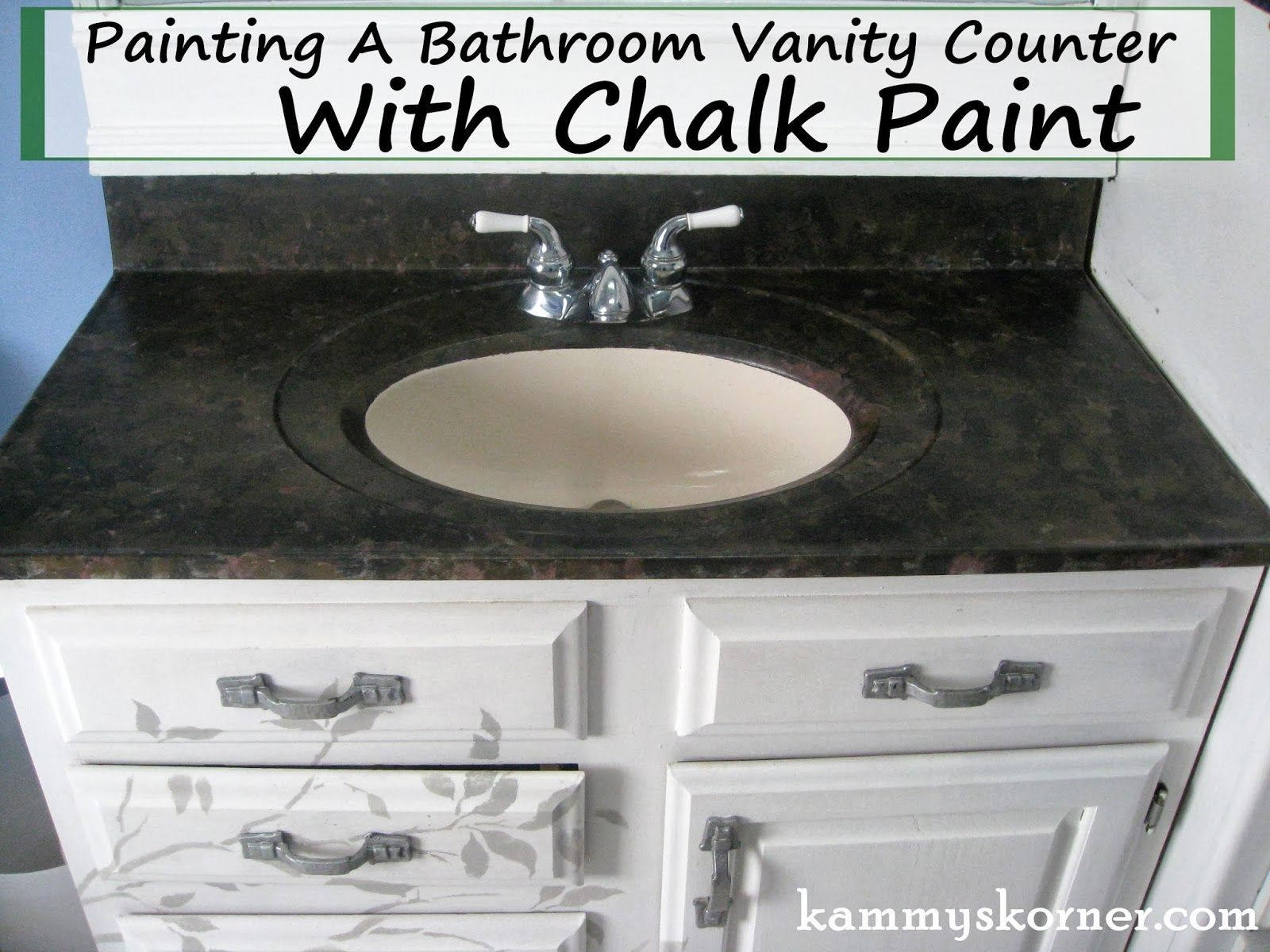 Painting A Bathroom Vanity Counter With Chalk Paint Someday Crafts - Painting bathroom vanity top