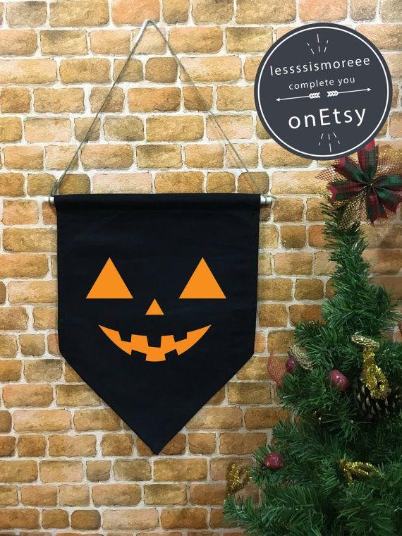 Halloween baner flag PUMPKIN flag Halloween by Lessssismoreee