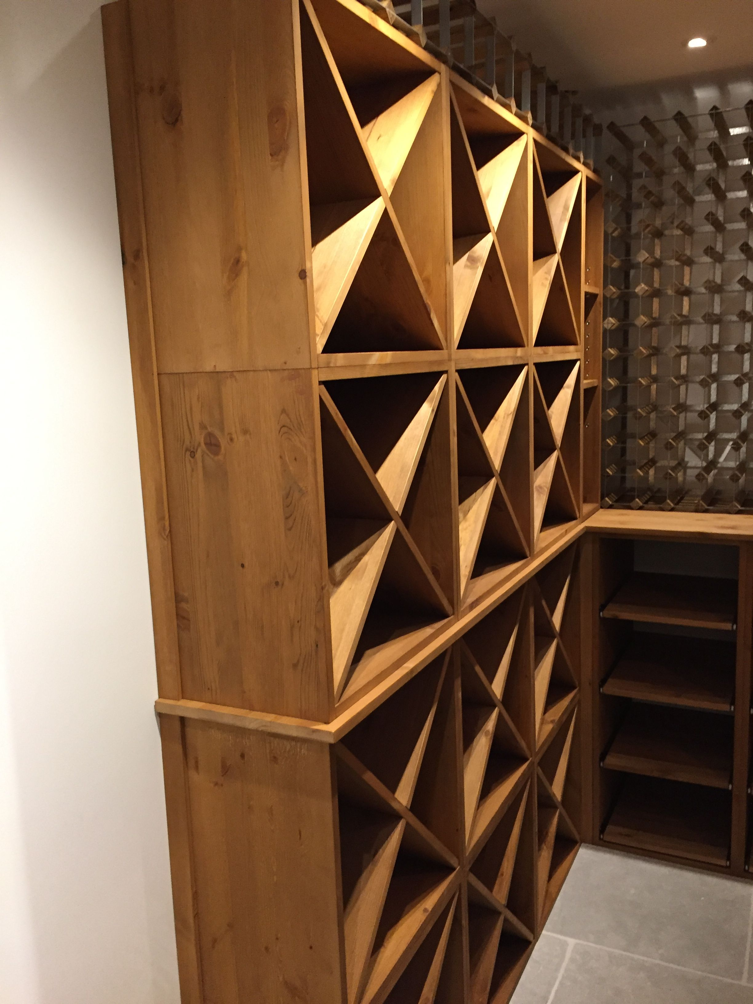 A Mixture Of Traditional Pine And Metal Racks With Storage Cubes, Case  Racks And Worktop Surfaces For A Private Home Supplied By Wineware In The  UK.