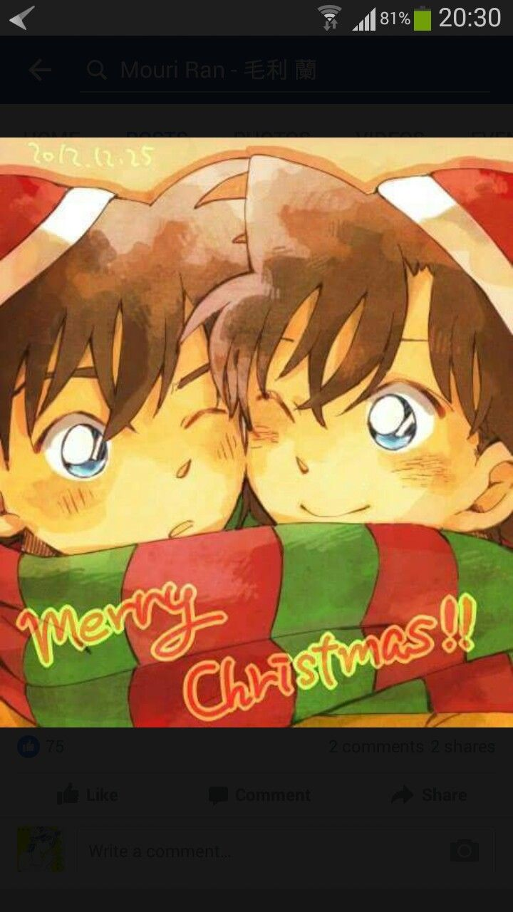 merry christmas detective conan ran and shinichi magic kaito