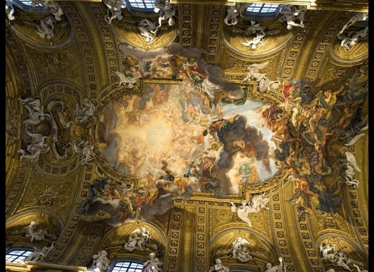 Roman ceiling painting gradschoolfairs ceiling of il gesu church rome look up down dailygadgetfo Image collections