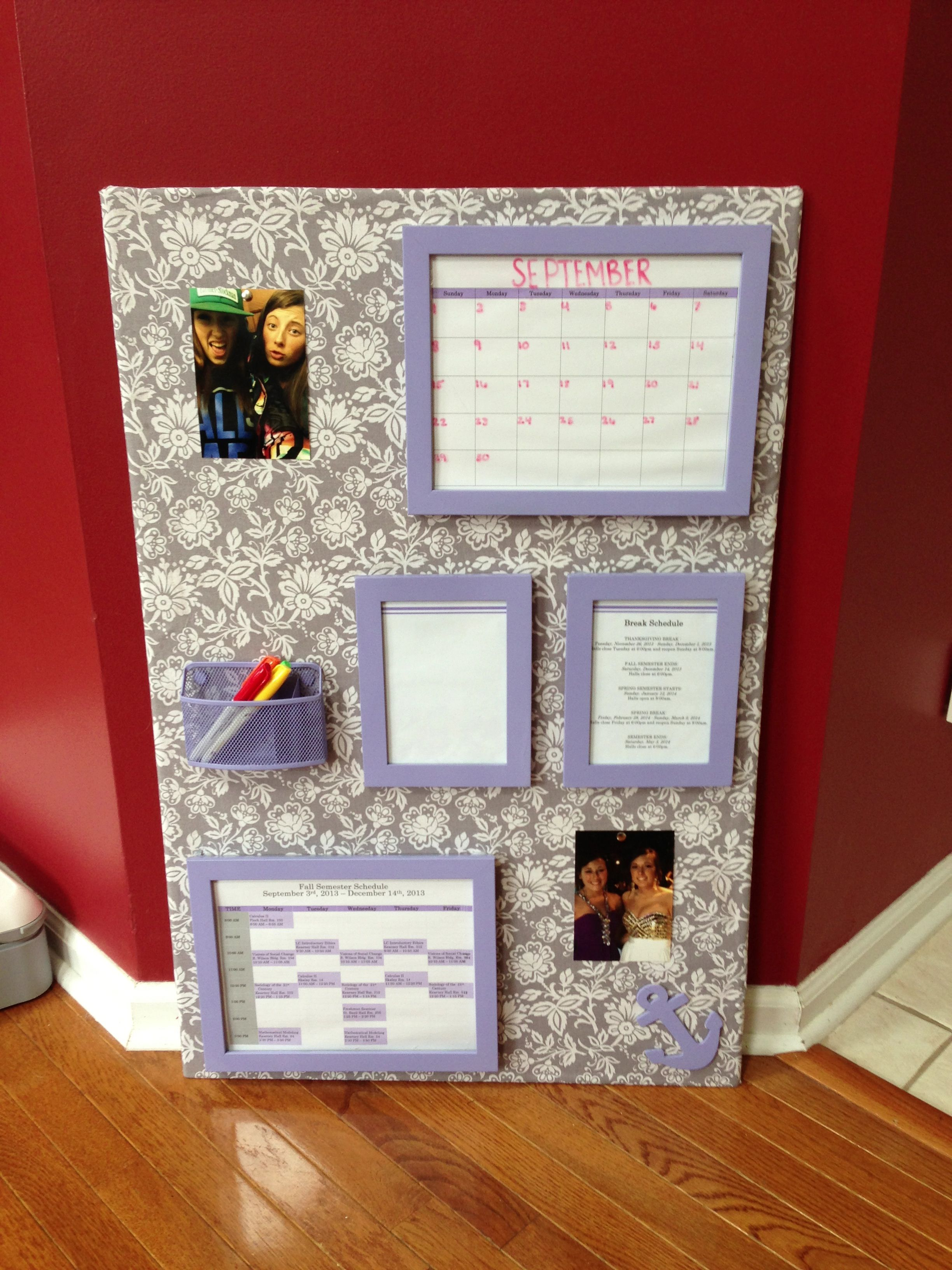 DIY College Dorm Organization Board Make Slots To Put Weekly Meal Schedules Calendars