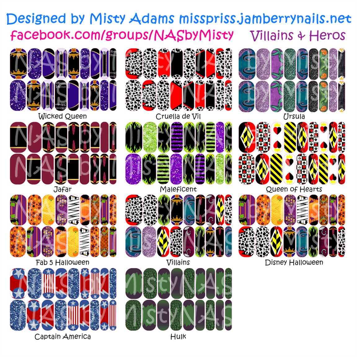 Custom designed Disney Villains and Heroes inspired Jamberry Nail wraps. Available exclusively through me at facebook.com/groups/NASbyMisty