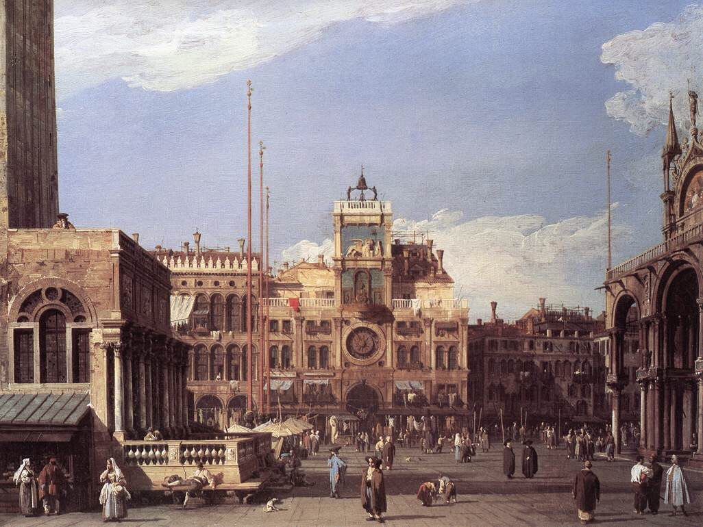 Canaletto, La torre dell\'orologio in Piazza San Marco, 1730, olio su ...