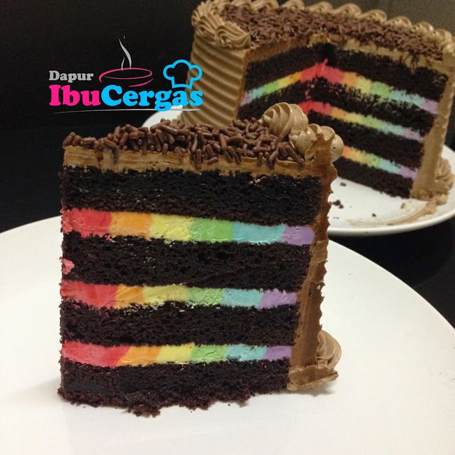 Chocolate Moist Cake With Filling Rainbow Buttercream With