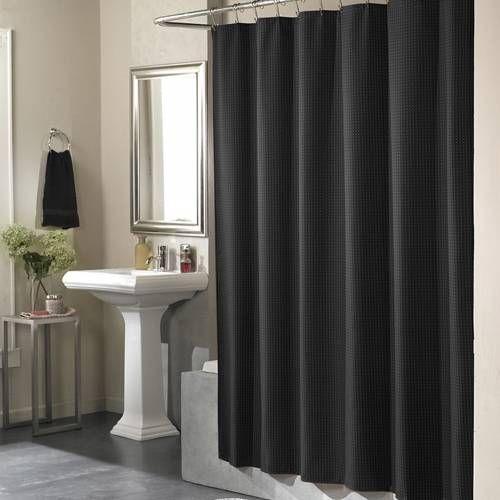 black hookless shower curtain