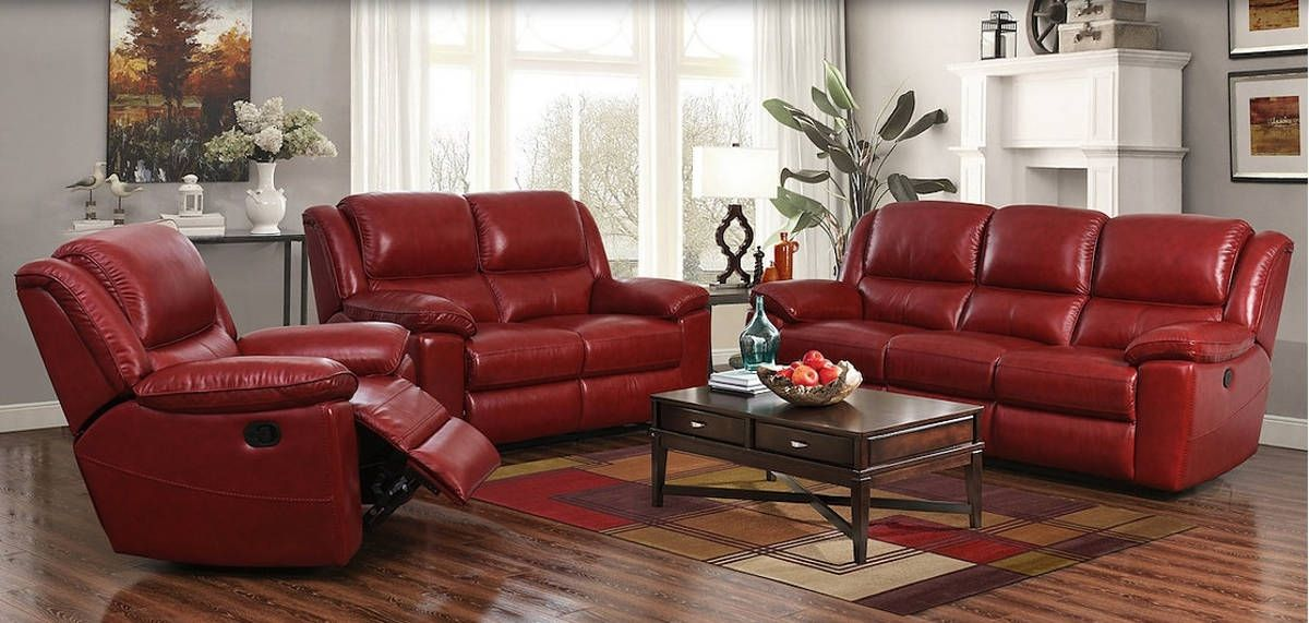 Laguna Contemporary Contact Red Leather Match Power Sofa Living