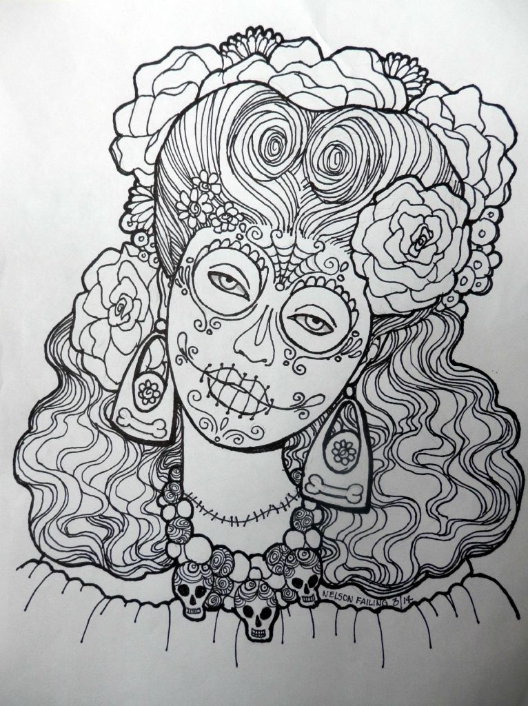 Dia De Los Muertos Skull Coloring Pages Animal Coloring