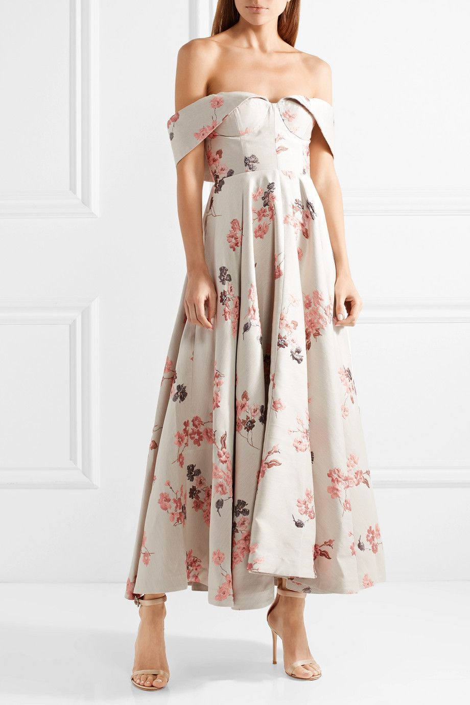 Off-the-shoulder Floral-jacquard Midi Dress - Beige Co CiqyK7KZ
