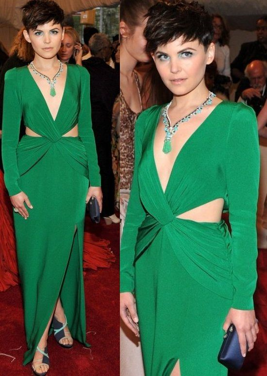 "Ginnifer Goodwin at MET Costume Institute Gala 2011 in Kelly green Topshop dress featuring low-neckline, long sleeves and twisted front. Van Cleef & Arpels ""Art Deco Zip beaded and tassled necklace with turquoise detailing, 1964 ""Estate"" turquoise and pearl ring set in yellow gold."