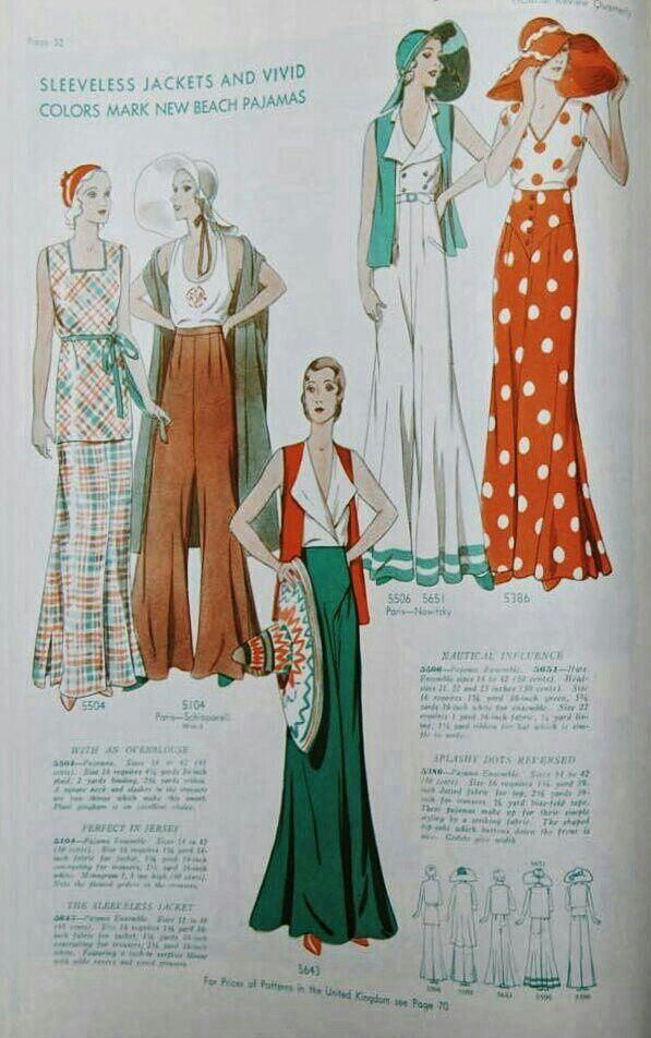 "Chic 1930/'s Vintage Sewing Pattern Beach Pyjama Pajamas Wide Leg WW2  Bust 40/"""