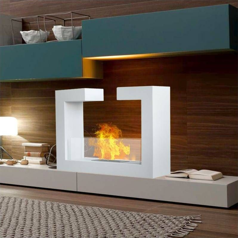 Chalice Steel & Glass Bio Ethanol Fireplace White | interior