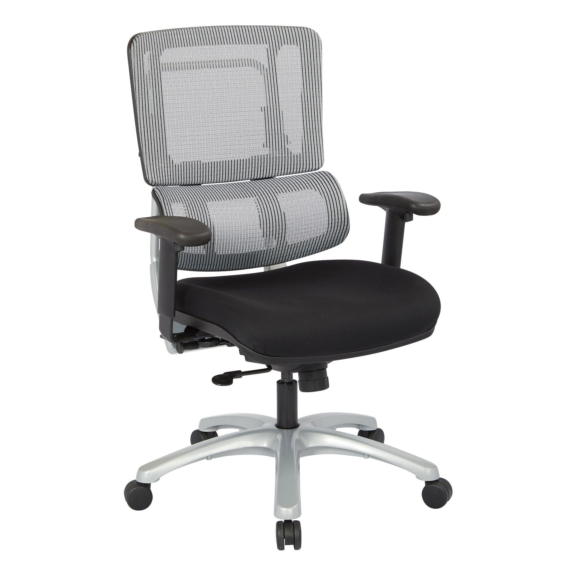 Vertical Mesh Back Chair With Silver Base And Black Coal
