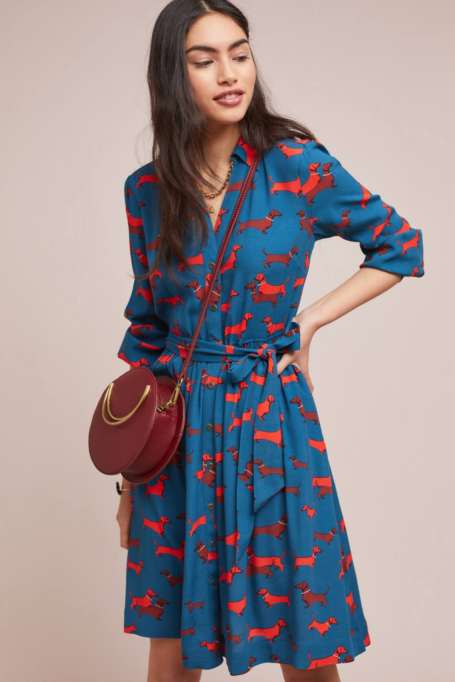 caeecf343dc43 Colloquial Long-Sleeved Shirtdress | Doxie Delight! | Long sleeve ...
