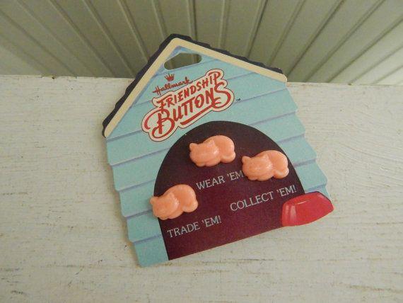 Hallmark Friendship Buttons - Katie Kitten Hallmark Friendship Buttons - Original Card - 1980s Collectible Hallmark Accessory Buttons