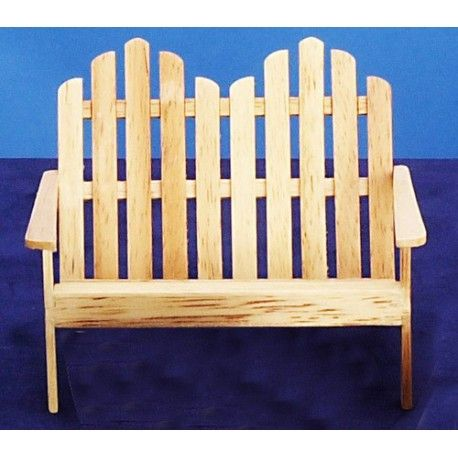 dollhouse outdoor furniture. Miniature Adirondack Dbl Chair/oak - From Our Selection Of Dollhouse Outdoor Chairs. The Furniture