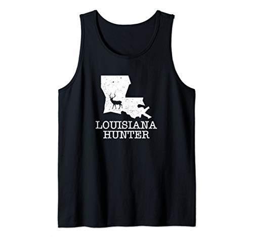 Louisiana Hunter State Silhouette Deer Hunting Tank Top
