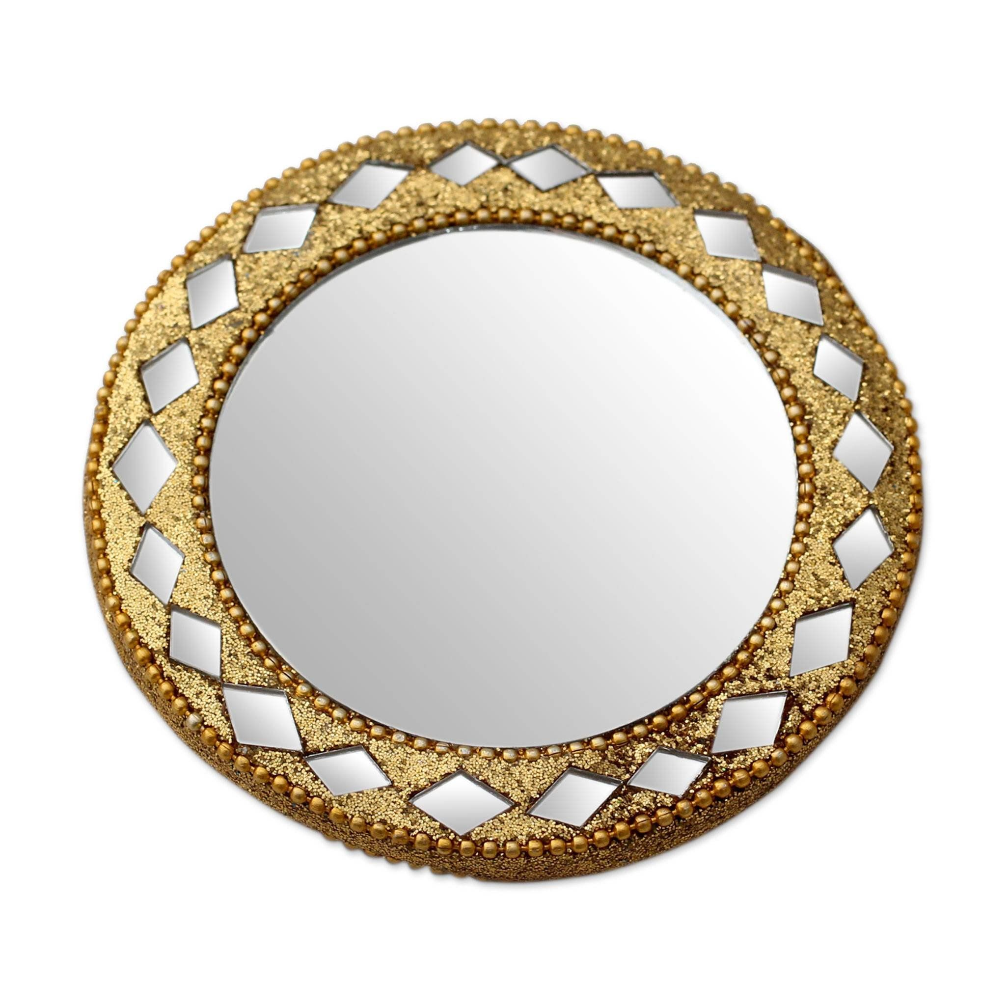 Novica Wood Wall Mounted Golden Charm Embellished Hand Mirror