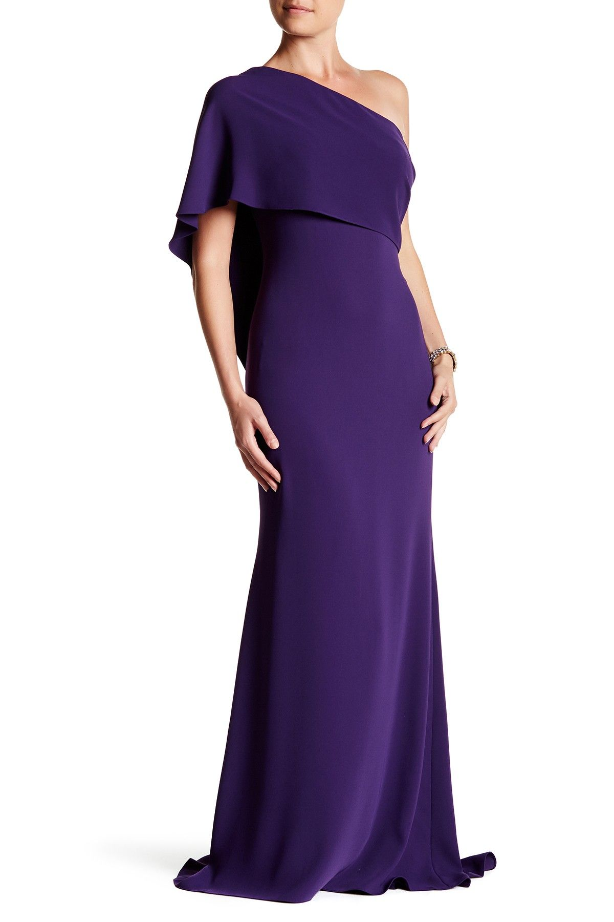 One-Shoulder Capelet Gown by Carmen Marc Valvo on @HauteLook ...