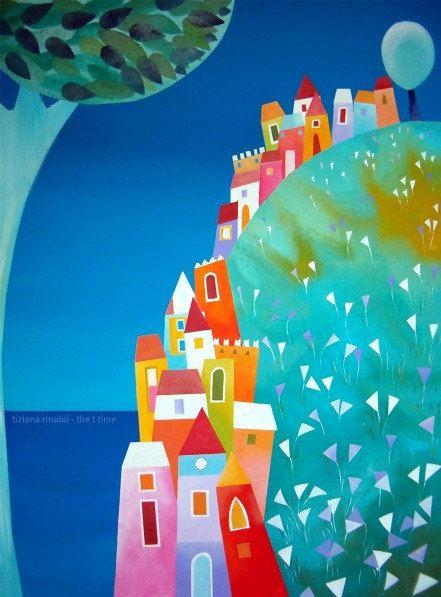 Sulla Collina Tiziana Rinaldi Hill Village Landscape Sea Blue