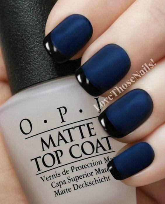 Opi Matte Navy Reverse Tuxedo Manicure Russian Black Onyx Top Coat Nail Polish Easy Instructions Great Stocking Stuffer
