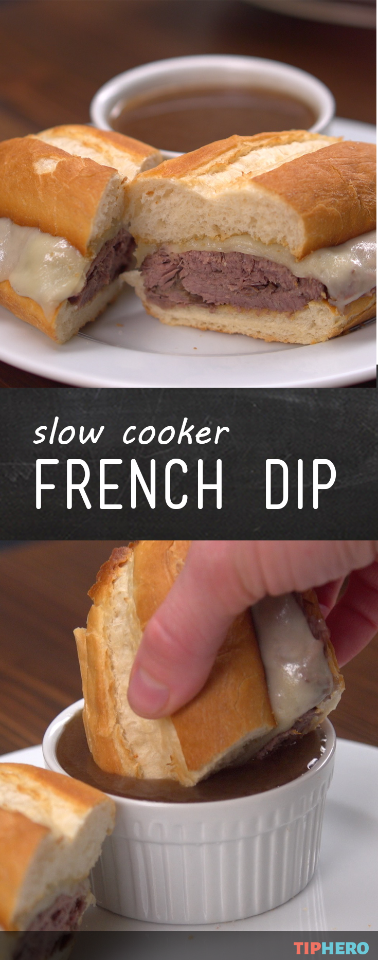 Here's a game day meal that won't disappoint -- slow cooker French dip sandwiches! Click to see how it's done.   #frenchdip #easyrecipes #footballfavs #crowdpleasers (French Bread Sandwich Recipes)